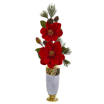 Magnolia and Pine Artificial Arrangement in Designer Vase - SKU #1923