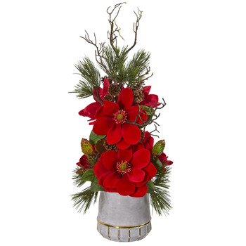 Magnolia and Pine Artificial Arrangement in Stoneware Vase with Gold Trimming - SKU #1924
