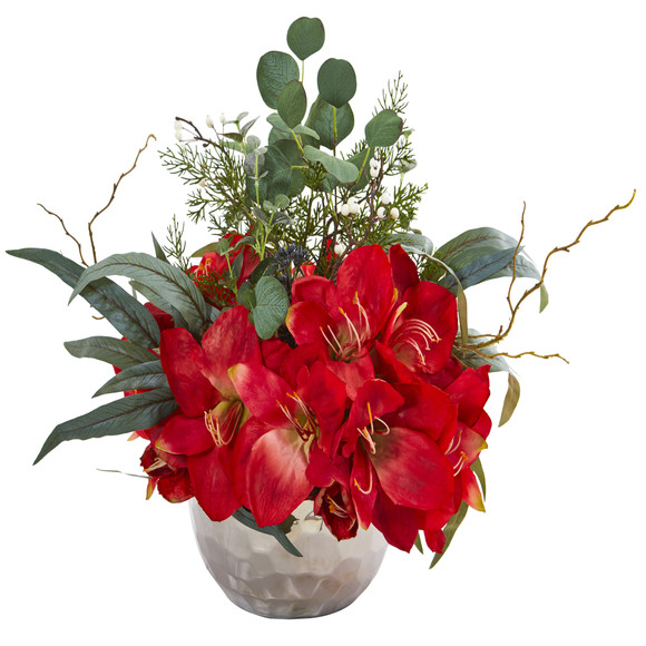 Amaryllis and Eucalyptus Artificial Arrangement in Silver Vase - SKU #1925