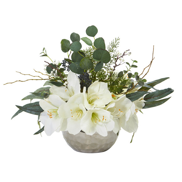 Amaryllis and Eucalyptus Artificial Arrangement in Silver Vase - SKU #1925 - 1