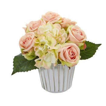 Rose and Hydrangea Bouquet Artificial in White and Silver Trimmed Vase - SKU #1926