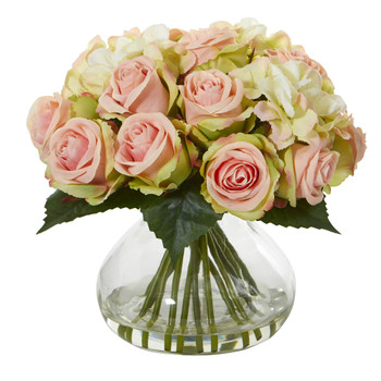 Rose and Hydrangea Artificial Arrangement in Glass Vase - SKU #1927