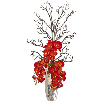 Autumn Phalaenopsis Artificial Arrangement in Silver Vase - SKU #1928