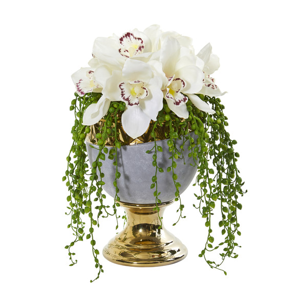 13 Cymbidium Orchid Artificial Arrangement in Designer Urn - SKU #1929 - 2