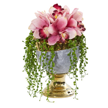 13 Cymbidium Orchid Artificial Arrangement in Designer Urn - SKU #1929