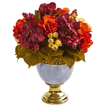 16 Autumn Hydrangea Berry Artificial Arrangement in Decorative Urn - SKU #1930