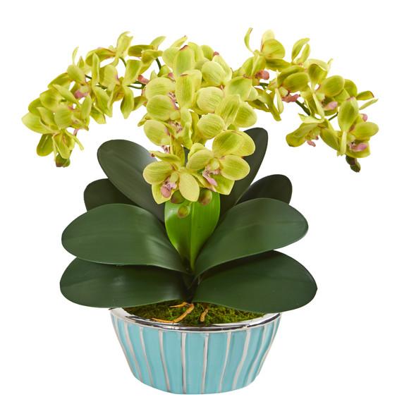 Phalaenopsis Orchid Artificial Arrangement in Designer Turquoise Vase - SKU #1931 - 3