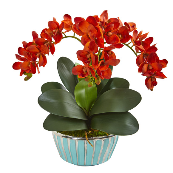 Phalaenopsis Orchid Artificial Arrangement in Designer Turquoise Vase - SKU #1931 - 2