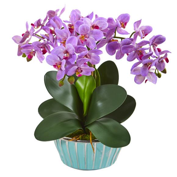 Phalaenopsis Orchid Artificial Arrangement in Designer Turquoise Vase - SKU #1931 - 1
