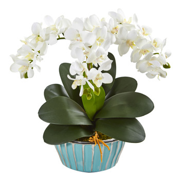 Phalaenopsis Orchid Artificial Arrangement in Designer Turquoise Vase - SKU #1931