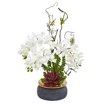 Phalaenopsis Orchid and Succulent Artificial Arrangement - SKU #1932