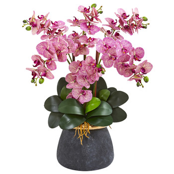 Phalaenopsis Orchid Artificial Arrangement in Stoneware Vase - SKU #1933-PC
