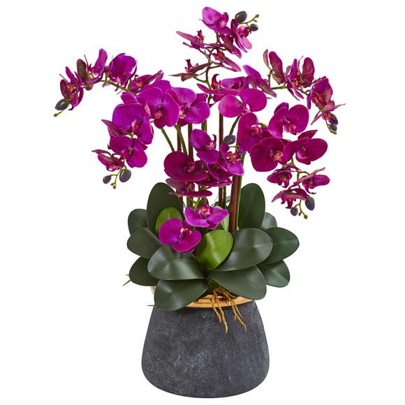 Phalaenopsis Orchid Artificial Arrangement in Stoneware Vase - SKU #1933 - 2
