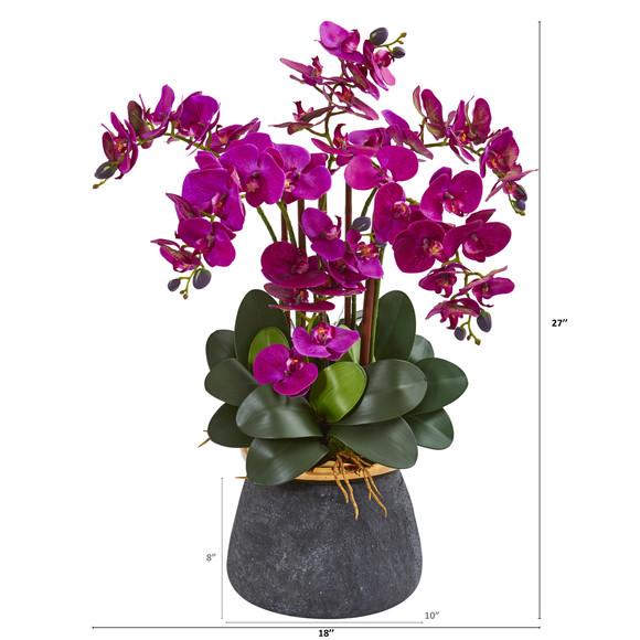 Phalaenopsis Orchid Artificial Arrangement in Stoneware Vase - SKU #1933 - 3