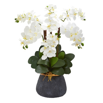 Phalaenopsis Orchid Artificial Arrangement in Stoneware Vase - SKU #1933