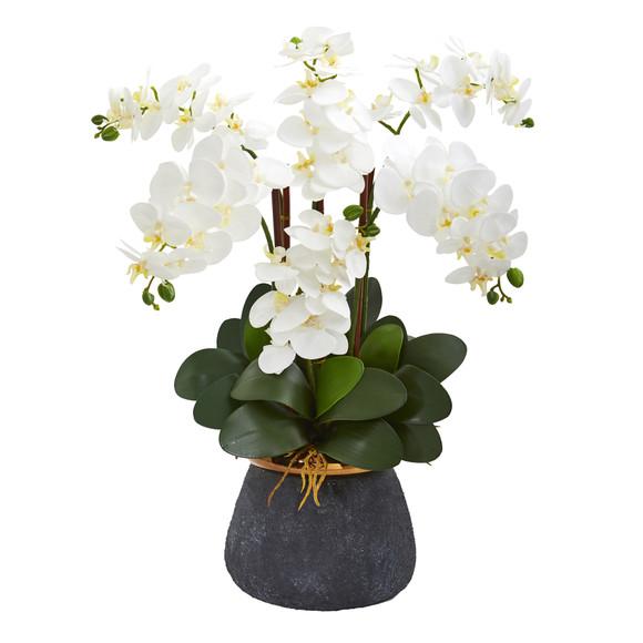 Phalaenopsis Orchid Artificial Arrangement in Stoneware Vase - SKU #1933