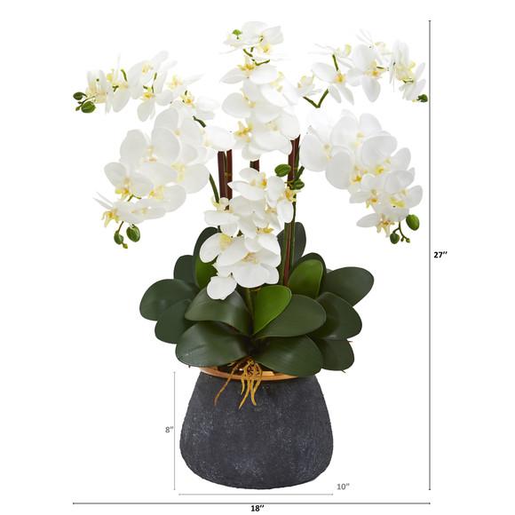 Phalaenopsis Orchid Artificial Arrangement in Stoneware Vase - SKU #1933 - 1