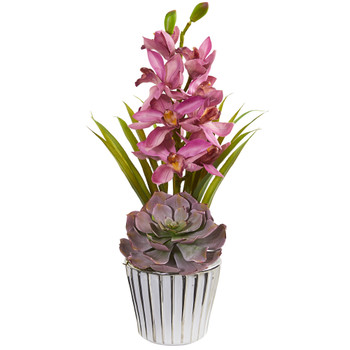 Cymbidium Orchid and Succulent Artificial Arrangement - SKU #1934-MA