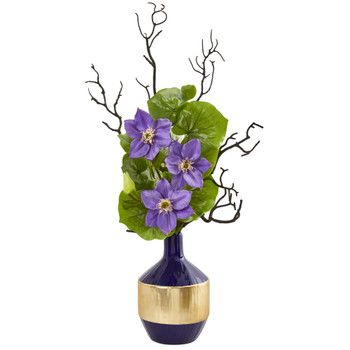 22 Anemone and Lotus Leaf Artificial Arrangement in Vase - SKU #1935