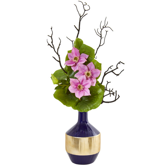 22 Anemone and Lotus Leaf Artificial Arrangement in Vase - SKU #1935 - 2