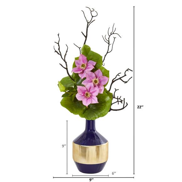 22 Anemone and Lotus Leaf Artificial Arrangement in Vase - SKU #1935 - 3