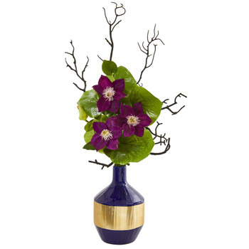 22 Anemone and Lotus Leaf Artificial Arrangement in Vase - SKU #1935-PP