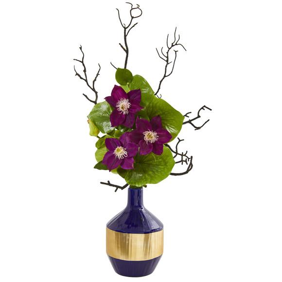 22 Anemone and Lotus Leaf Artificial Arrangement in Vase - SKU #1935-PP