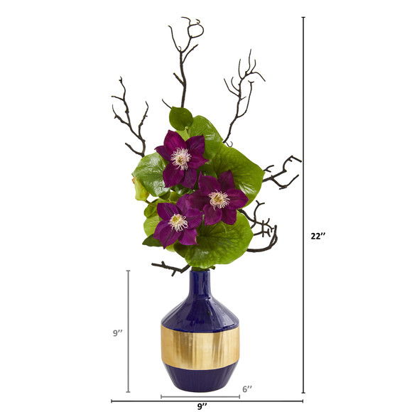 22 Anemone and Lotus Leaf Artificial Arrangement in Vase - SKU #1935-PP - 1