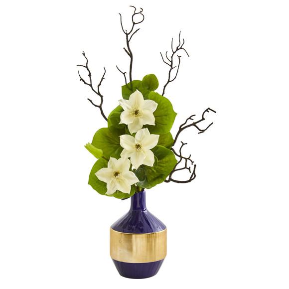 22 Anemone and Lotus Leaf Artificial Arrangement in Vase - SKU #1935 - 4