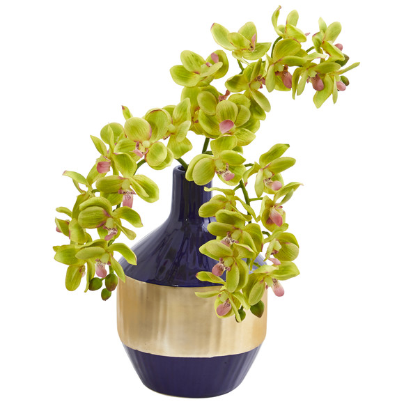 Phalaenopsis Orchid Artificial in Blue and Gold Designer Vase - SKU #1936 - 6