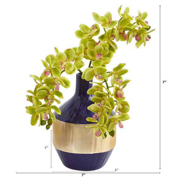 Phalaenopsis Orchid Artificial in Blue and Gold Designer Vase - SKU #1936 - 7