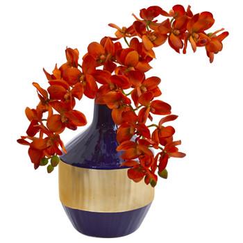 Phalaenopsis Orchid Artificial in Blue and Gold Designer Vase - SKU #1936-OG