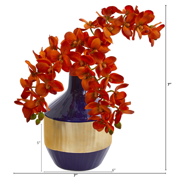 Phalaenopsis Orchid Artificial in Blue and Gold Designer Vase - SKU #1936 - 5