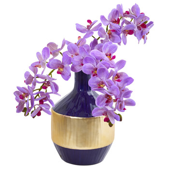 Phalaenopsis Orchid Artificial in Blue and Gold Designer Vase - SKU #1936