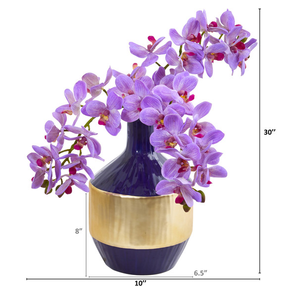 Phalaenopsis Orchid Artificial in Blue and Gold Designer Vase - SKU #1936 - 3
