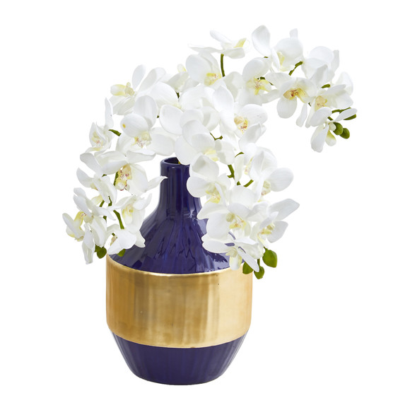 Phalaenopsis Orchid Artificial in Blue and Gold Designer Vase - SKU #1936