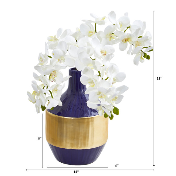 Phalaenopsis Orchid Artificial in Blue and Gold Designer Vase - SKU #1936 - 1