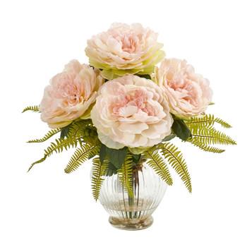 Peony and Fern Artificial Arrangement in Glass Vase - SKU #1937-PK