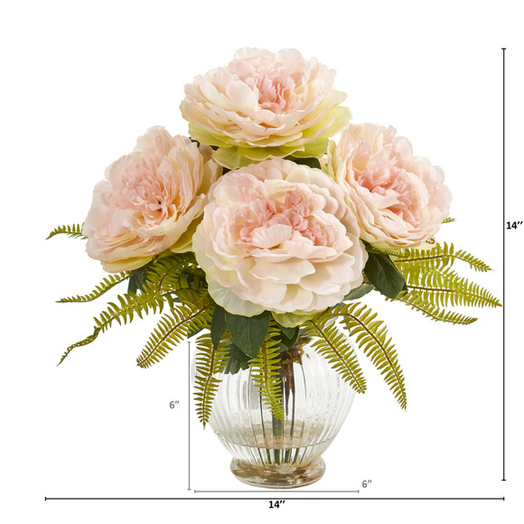 Peony and Fern Artificial Arrangement in Glass Vase - SKU #1937-PK - 1