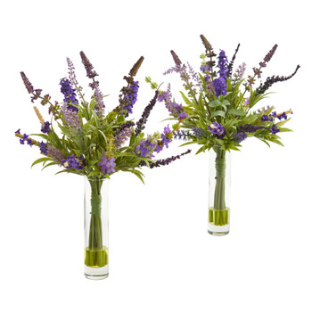 15 Lavender Artificial Arrangement in Glass Vase Set of 2 - SKU #1938-S2