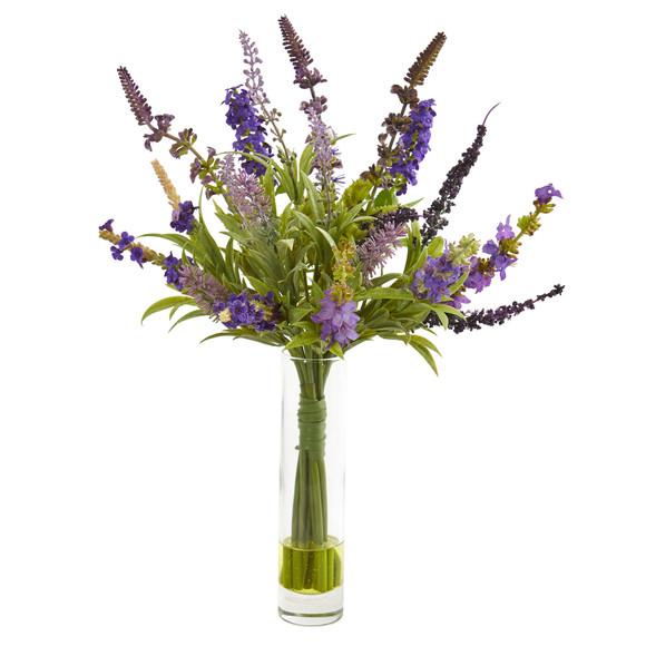 15 Lavender Artificial Arrangement in Glass Vase Set of 2 - SKU #1938-S2 - 2