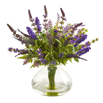 Lavender Bouquet Artificial Arrangement in Vase - SKU #1939