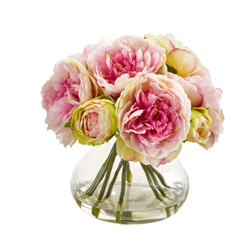 Peony Artificial Arrangement in Vase - SKU #1940