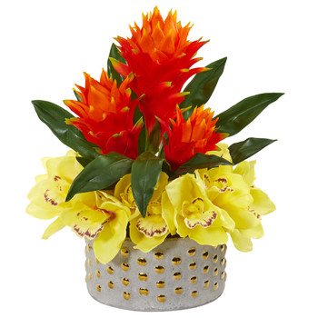 Cymbidium Orchid and Bromeliad Artificial Arrangement - SKU #1943