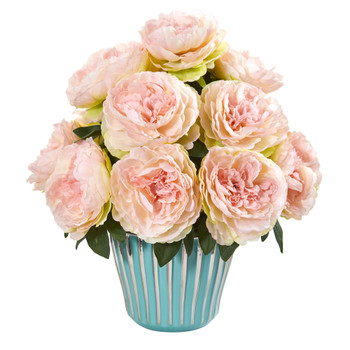 Peony Artificial Arrangement in Turquoise Vase - SKU #1944-PK
