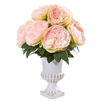 Peony Artificial Arrangement in White Urn - SKU #1945-PK