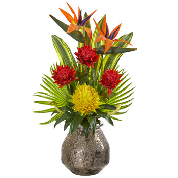 Tropical Inspired Artificial Arrangement in Designer Vase - SKU #1948