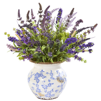 Lavender Artificial Arrangement in Floral Vase - SKU #1949