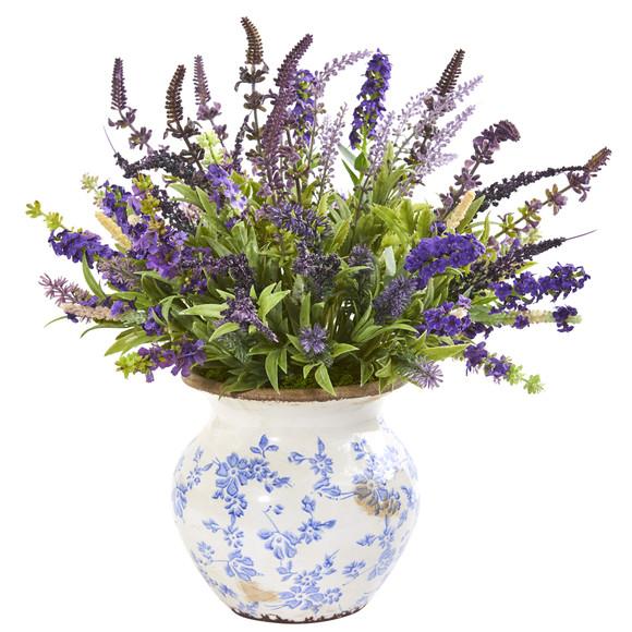 Lavender Artificial Arrangement in Floral Vase - SKU #1949