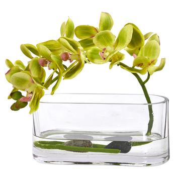 Phalaenopsis Orchid Artificial Arrangement in Glass Vase - SKU #1950-GR